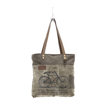 BY-CYCLE PRINT CANVAS TOTE BAG (GREEN)