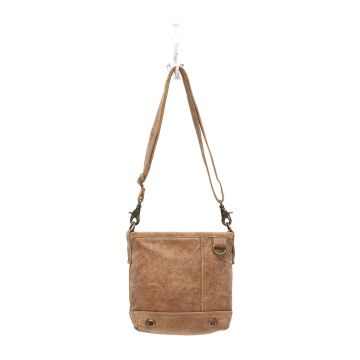 """D"" RING LEATHER CROSS BODY BAG"