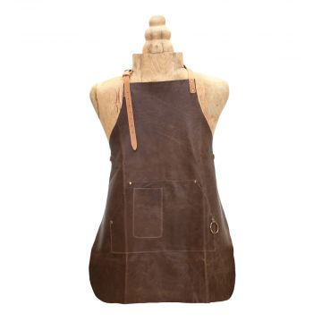 DARK BROWN LEATHER APRON