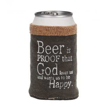 BLACK DENIM BEER CAN HOLDER
