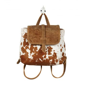LEATHER FLAP HAIRONBACKPACK BAG