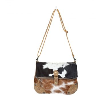 Black & White flap hairon crossbody bag