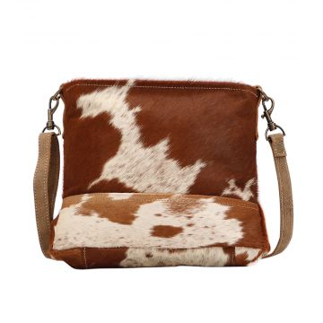 TAWNY & WHITE HAIRON SHOULDER  BAG