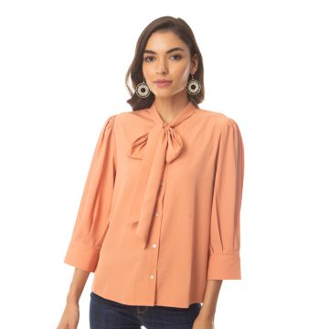 Tempted peach bow shirt