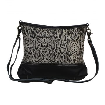 ANTIQUATED  LEATHER AND HAIRON BAG