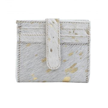 GOLD FOIL HOLDER   LEATHER AND HAIRON WALLET