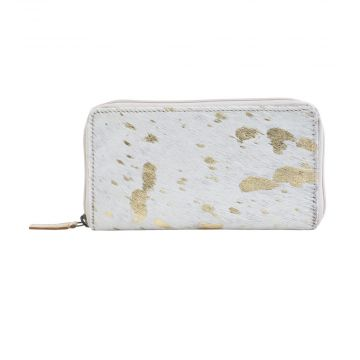 GOLD DESIRE  LEATHER AND HAIRON WALLET