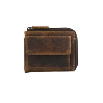 BROWN GLAZE  LEATHER AND HAIRON WALLET