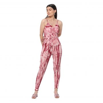 Pink tinted strappy jumpsuit