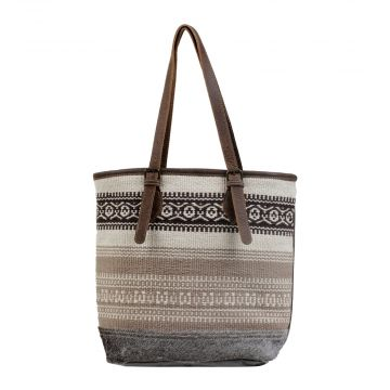 Beige Tribal Patterned Tote Bag