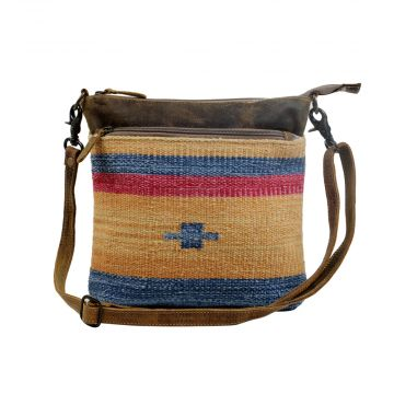 Yellow and Blue Stripes Cross-Body Bag