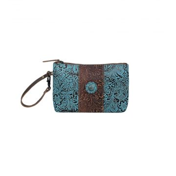 Aqua wristlet Leather & Hair On Bag
