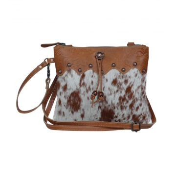 Ornate brown Leather & Hair On Bag