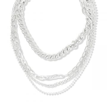 SNAZZY SILVER LAYERED NECKLACE
