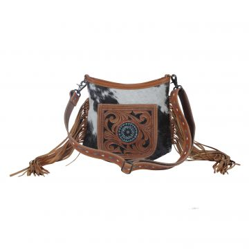 Brown Quilt   Hand-Tooled Bag