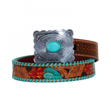 Tropical forest Hand-Tooled Leather Belt