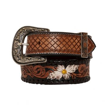Checkered brown  Hand-Tooled  Leather Belt