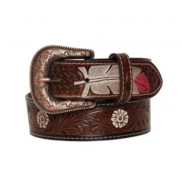 Pink feather  Hand-Tooled  Leather Belt